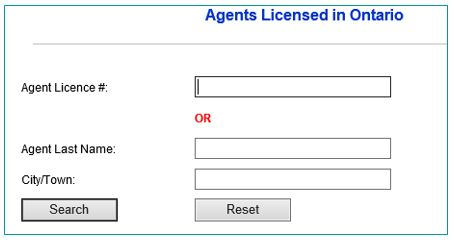 Screenshot of Agents licensed in Ontario web page