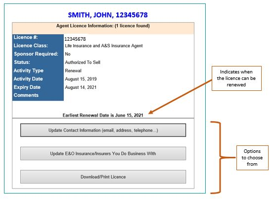 Screenshot of screen showing detailed information of agent whose license is current
