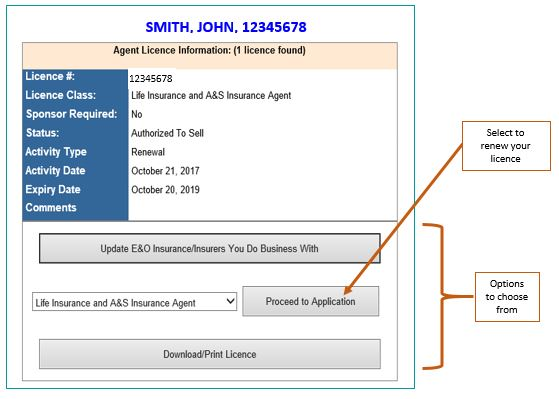 Screenshot of screen showing detailed information about agent whose license is ready for renewal